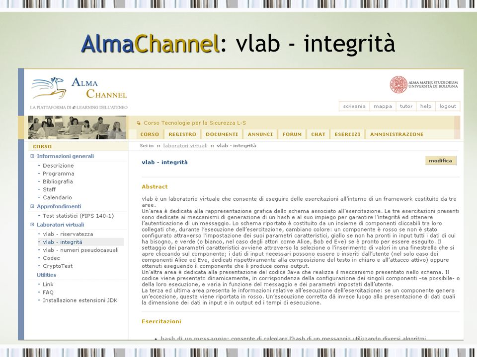 AlmaChannel AlmaChannel: vlab - integrità