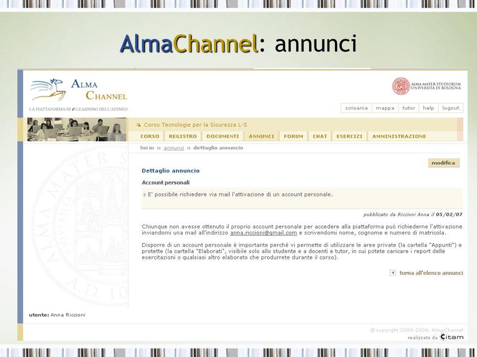 AlmaChannel AlmaChannel: annunci