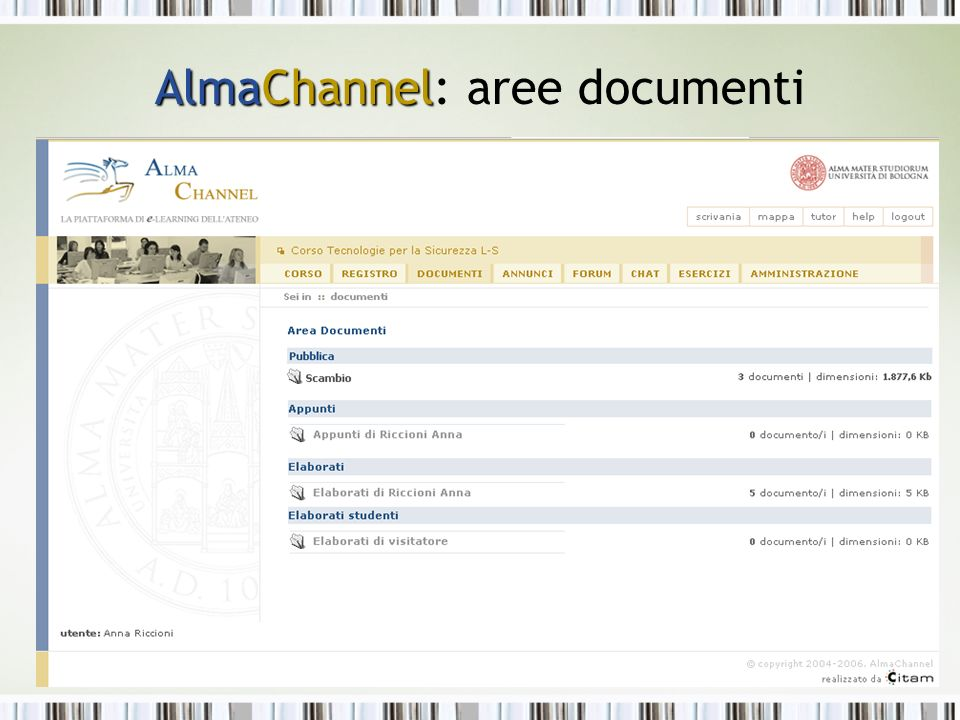 AlmaChannel AlmaChannel: aree documenti