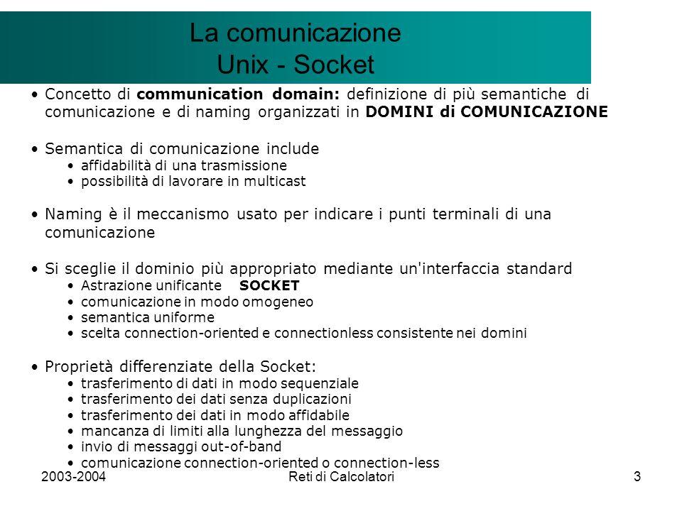 2003-2004Reti di Calcolatori3 Il modello Client/Server La comunicazione Unix - Socket Concetto di communication domain: definizione di più semantiche di comunicazione e di naming organizzati in DOMINI di COMUNICAZIONE Semantica di comunicazione include affidabilità di una trasmissione possibilità di lavorare in multicast Naming è il meccanismo usato per indicare i punti terminali di una comunicazione Si sceglie il dominio più appropriato mediante un interfaccia standard Astrazione unificante SOCKET comunicazione in modo omogeneo semantica uniforme scelta connection-oriented e connectionless consistente nei domini Proprietà differenziate della Socket: trasferimento di dati in modo sequenziale trasferimento dei dati senza duplicazioni trasferimento dei dati in modo affidabile mancanza di limiti alla lunghezza del messaggio invio di messaggi out-of-band comunicazione connection-oriented o connection-less
