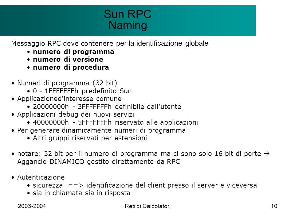 2003-2004Reti di Calcolatori10 Il modello Client/Server Sun RPC Naming Messaggio RPC deve contenere per la identificazione globale numero di programma