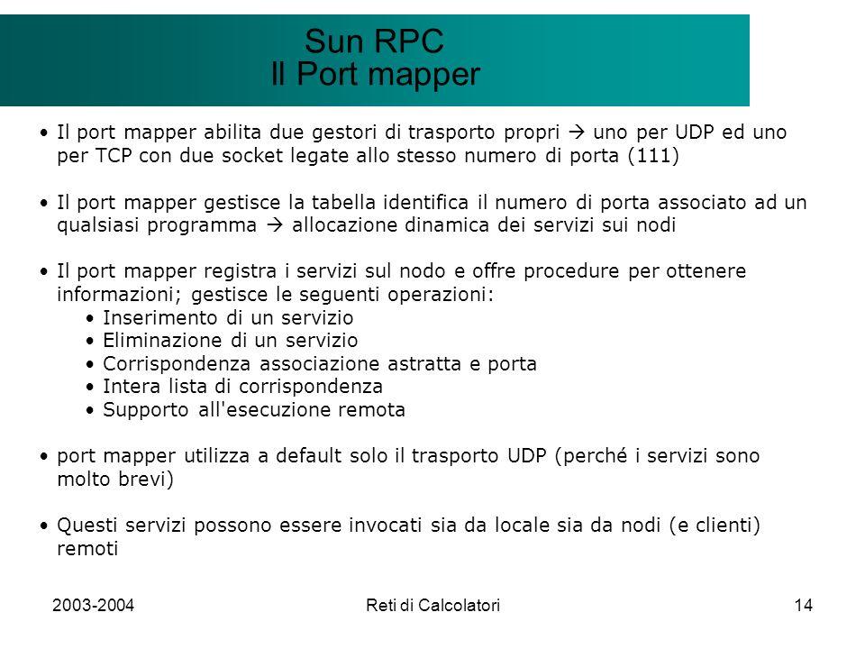 2003-2004Reti di Calcolatori14 Il modello Client/Server Sun RPC Il Port mapper Il port mapper abilita due gestori di trasporto propri uno per UDP ed u
