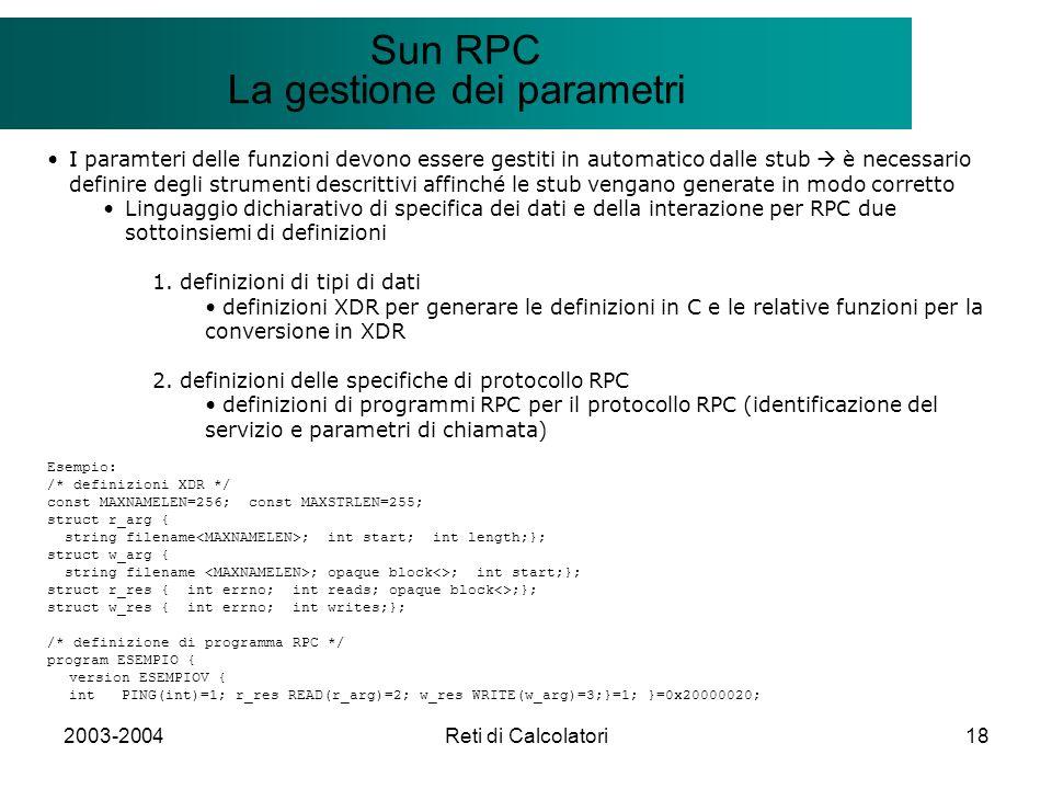 2003-2004Reti di Calcolatori18 Il modello Client/Server Sun RPC La gestione dei parametri I paramteri delle funzioni devono essere gestiti in automati