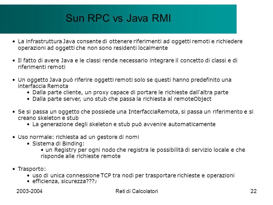 2003-2004Reti di Calcolatori22 Il modello Client/Server Sun RPC vs Java RMI La infrastruttura Java consente di ottenere riferimenti ad oggetti remoti