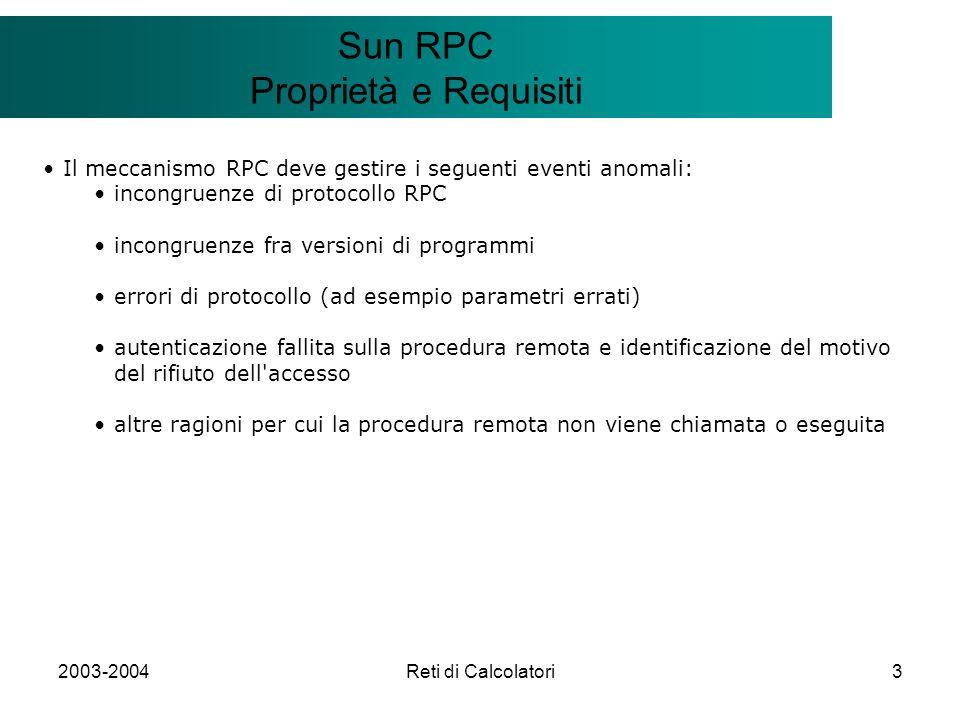 2003-2004Reti di Calcolatori3 Il modello Client/Server Sun RPC Proprietà e Requisiti Il meccanismo RPC deve gestire i seguenti eventi anomali: incongr