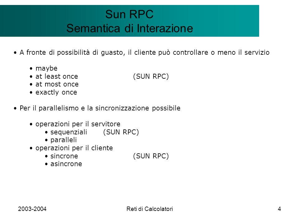 2003-2004Reti di Calcolatori4 Il modello Client/Server Sun RPC Semantica di Interazione A fronte di possibilità di guasto, il cliente può controllare