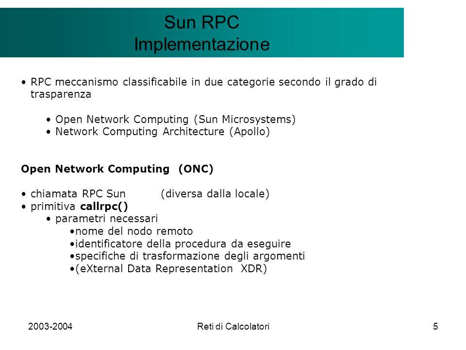 2003-2004Reti di Calcolatori5 Il modello Client/Server Sun RPC Implementazione RPC meccanismo classificabile in due categorie secondo il grado di tras