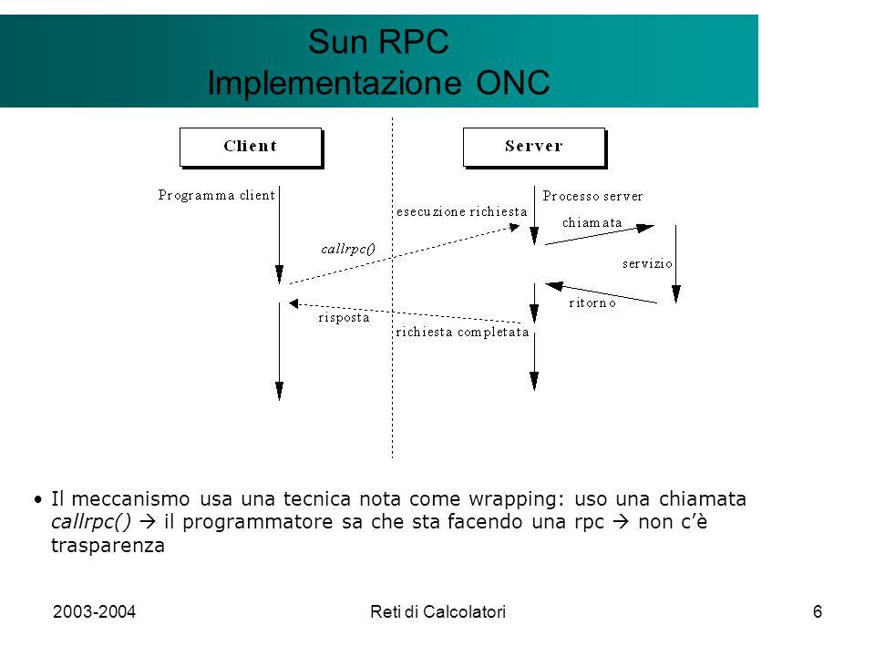 2003-2004Reti di Calcolatori6 Il modello Client/Server Sun RPC Implementazione ONC Il meccanismo usa una tecnica nota come wrapping: uso una chiamata