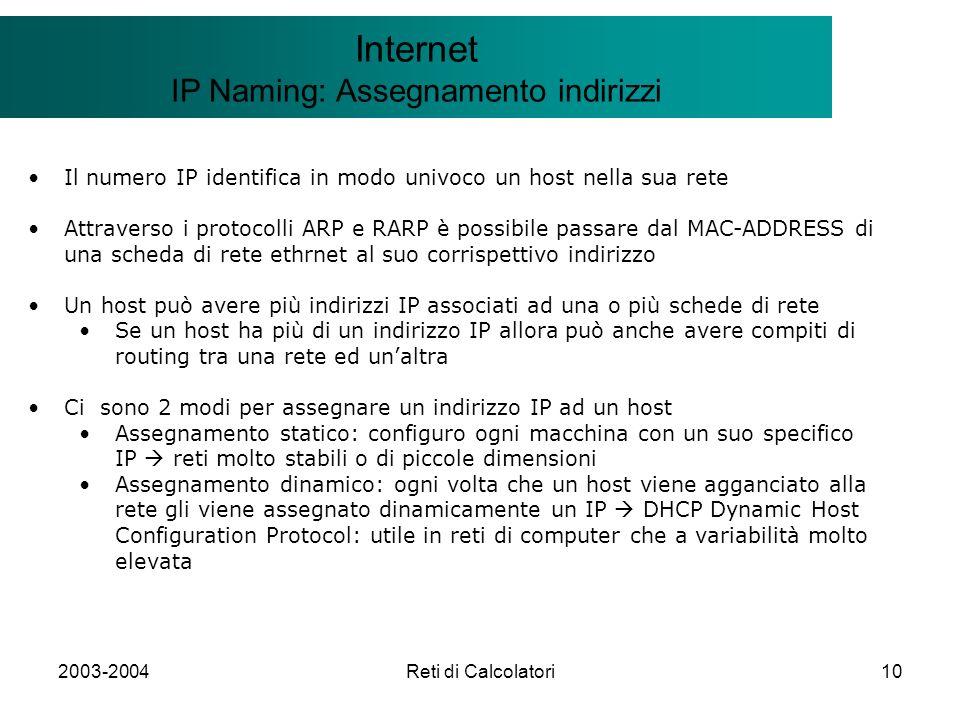 2003-2004Reti di Calcolatori10 Il modello Client/Server Internet IP Naming: Assegnamento indirizzi Il numero IP identifica in modo univoco un host nel