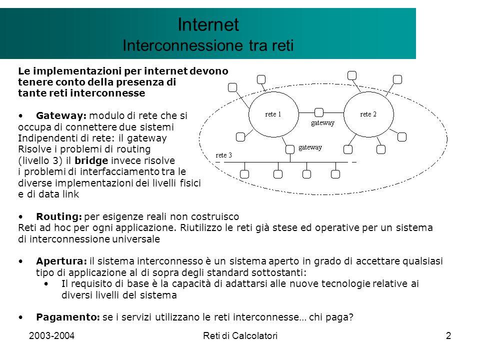 2003-2004Reti di Calcolatori43 Il modello Client/Server Internet TCP: Transfer Control Protocol Protocollo per stabilire la CONNESSIONE TCP: Connessione tra due nodi: three-way handshake PRIMA FASE: A invia il segmento SYN a B e richiede la connessione (SYN nell header del segmento e X valore scelto da A) SECONDA FASE: B riceve il segmento SYN e ne invia uno identico ad A insieme all ACK (e Y valore scelto da B) TERZA FASE: A riceve il segmento SYN ed ACK e conferma la ricezione a B attraverso un ack a sua volta Il sistema di comunicazione a tre fasi compromesso ogni nodo invia un messaggio ed ha conferma Semantica at-most once