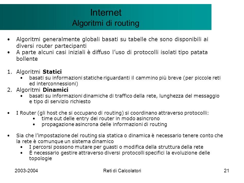 2003-2004Reti di Calcolatori21 Il modello Client/Server Internet Algoritmi di routing Algoritmi generalmente globali basati su tabelle che sono dispon
