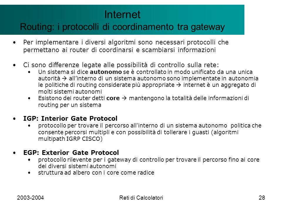 2003-2004Reti di Calcolatori28 Il modello Client/Server Internet Routing: i protocolli di coordinamento tra gateway Per implementare i diversi algorit