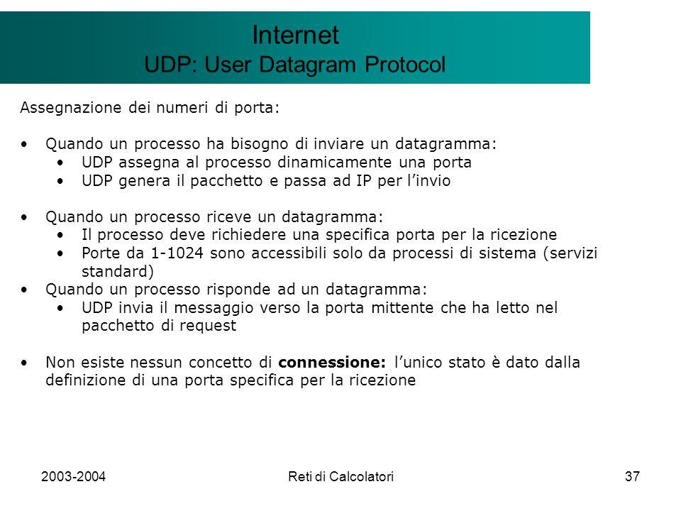 2003-2004Reti di Calcolatori37 Il modello Client/Server Internet UDP: User Datagram Protocol Assegnazione dei numeri di porta: Quando un processo ha b
