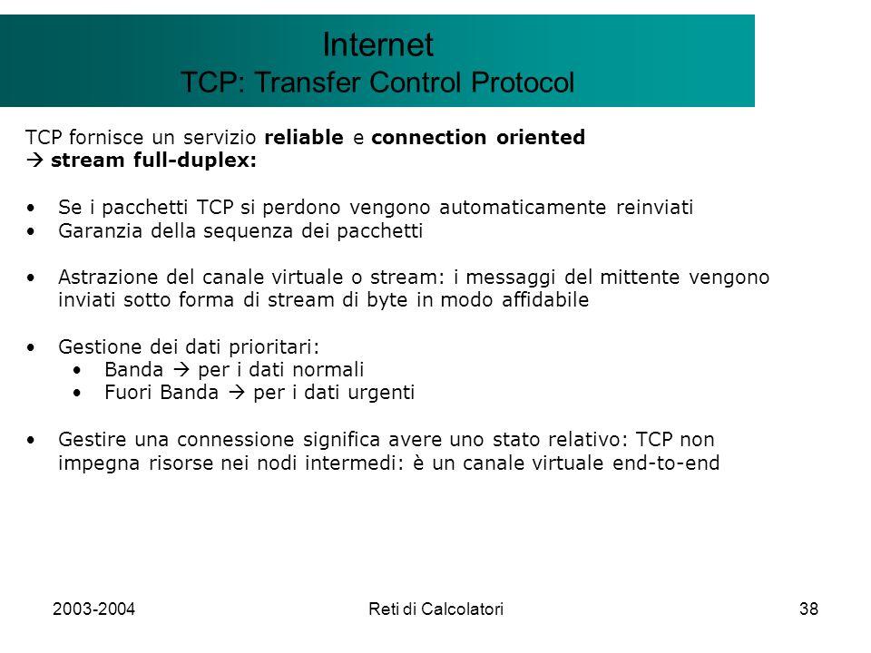 2003-2004Reti di Calcolatori38 Il modello Client/Server Internet TCP: Transfer Control Protocol TCP fornisce un servizio reliable e connection oriente