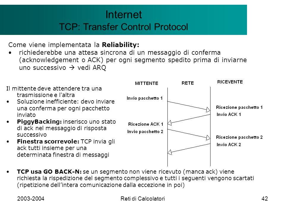 2003-2004Reti di Calcolatori42 Il modello Client/Server Internet TCP: Transfer Control Protocol Come viene implementata la Reliability: richiederebbe