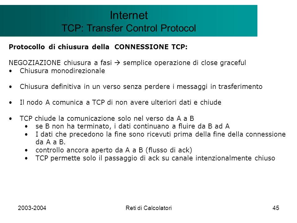 2003-2004Reti di Calcolatori45 Il modello Client/Server Internet TCP: Transfer Control Protocol Protocollo di chiusura della CONNESSIONE TCP: NEGOZIAZ