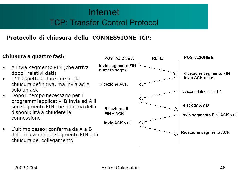 2003-2004Reti di Calcolatori46 Il modello Client/Server Internet TCP: Transfer Control Protocol Protocollo di chiusura della CONNESSIONE TCP: Chiusura
