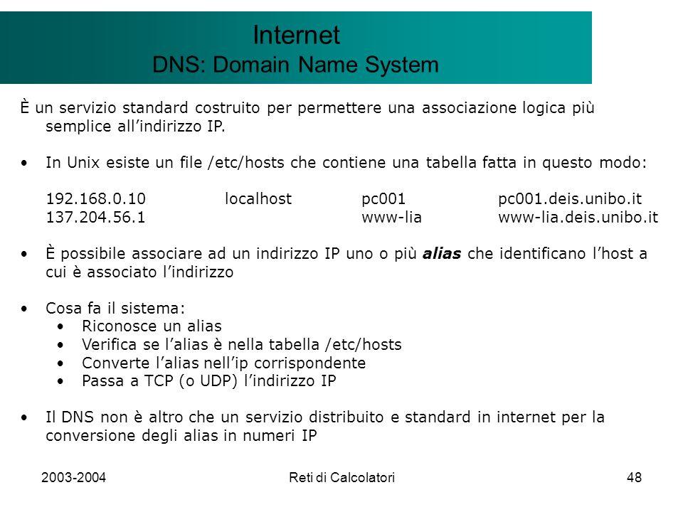 2003-2004Reti di Calcolatori48 Il modello Client/Server Internet DNS: Domain Name System È un servizio standard costruito per permettere una associazi