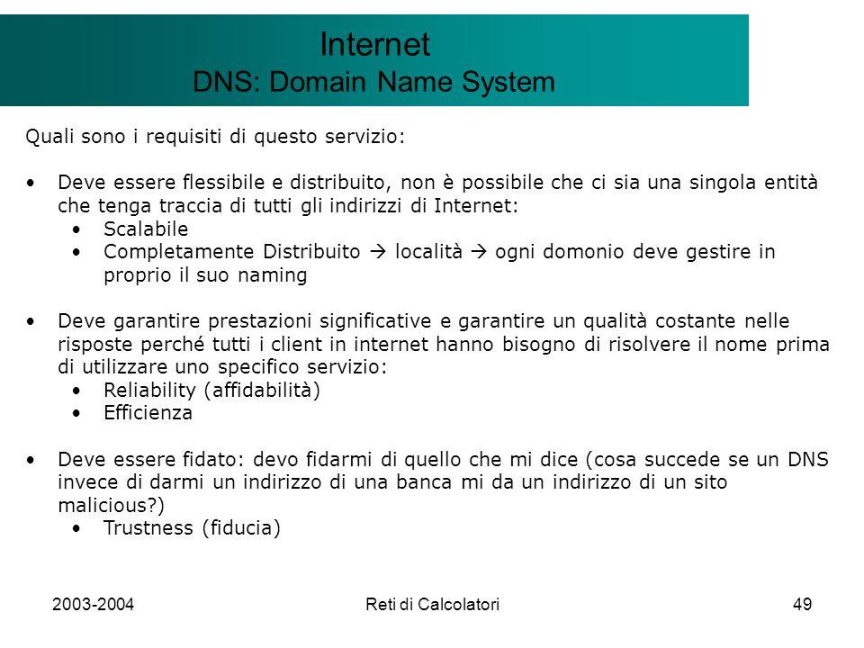2003-2004Reti di Calcolatori49 Il modello Client/Server Internet DNS: Domain Name System Quali sono i requisiti di questo servizio: Deve essere flessi