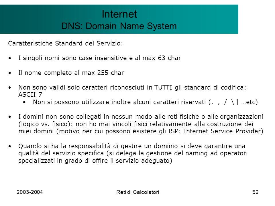 2003-2004Reti di Calcolatori52 Il modello Client/Server Internet DNS: Domain Name System Caratteristiche Standard del Servizio: I singoli nomi sono ca