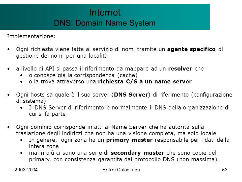 2003-2004Reti di Calcolatori53 Il modello Client/Server Internet DNS: Domain Name System Implementazione: Ogni richiesta viene fatta al servizio di no