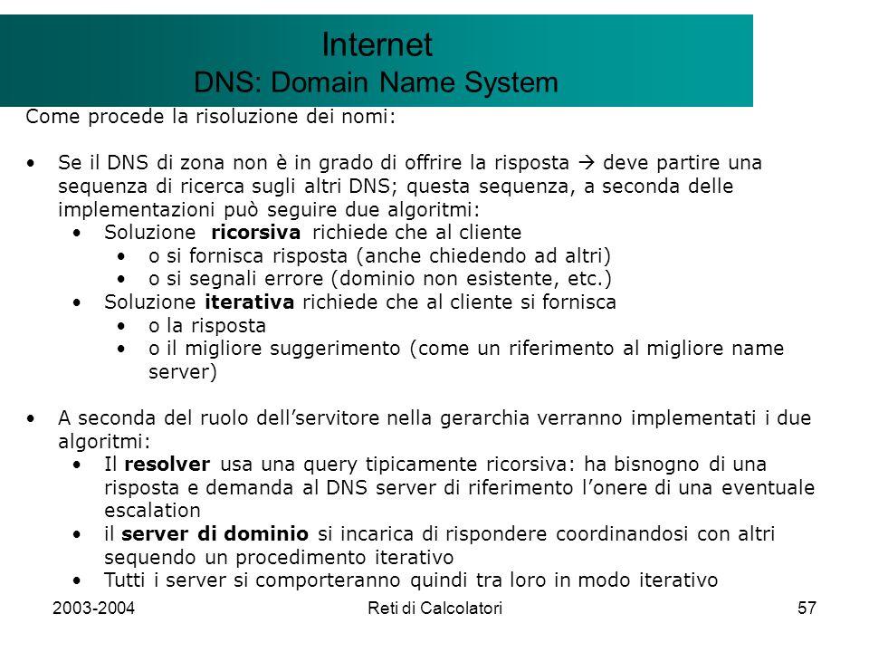 2003-2004Reti di Calcolatori57 Il modello Client/Server Internet DNS: Domain Name System Come procede la risoluzione dei nomi: Se il DNS di zona non è