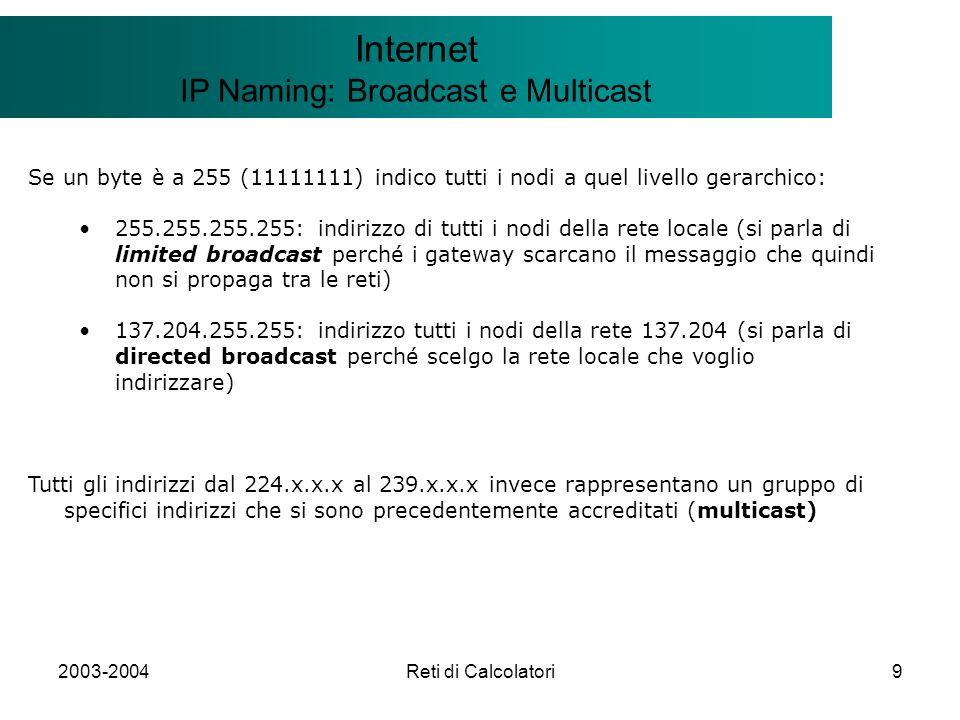 2003-2004Reti di Calcolatori30 Il modello Client/Server Internet ICMP: Internet Control Message Protocol Formato: Messaggio ICMP inserito un datagramma IP: il messaggio ICMP contiene sempre l header e 64 bit dell area dati del datagramma che ha causato il problema I campi type e code consentono di fornire informazioni ulteriori----------------------- 0 Echo Reply 3 Destinazione irraggiungibile 4 Problemi di congestione (source quench) 5 Cambio percorso (redirect) 8 Echo Request 11 Superati i limiti di tempo del datagramma 12 Problemi sui parametri del datagramma 13 Richiesta di timestamp 14 Risposta di timestamp 15 Richiesta di Address mask 16 Risposta di Address mask