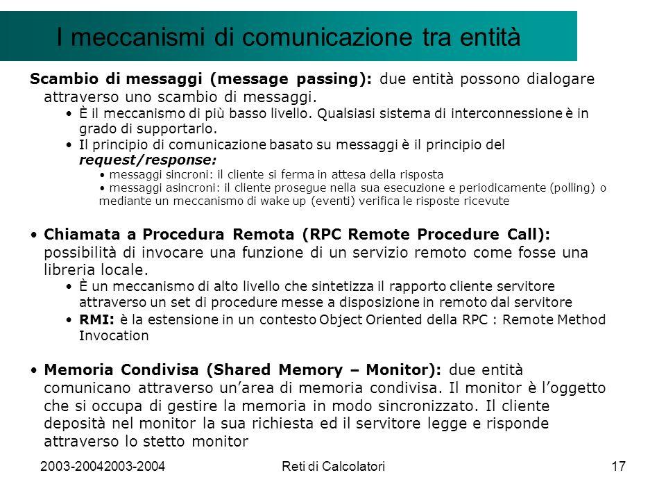 2003-20042003-2004Reti di Calcolatori17 Il modello Client/Server I meccanismi di comunicazione tra entità Scambio di messaggi (message passing): due entità possono dialogare attraverso uno scambio di messaggi.