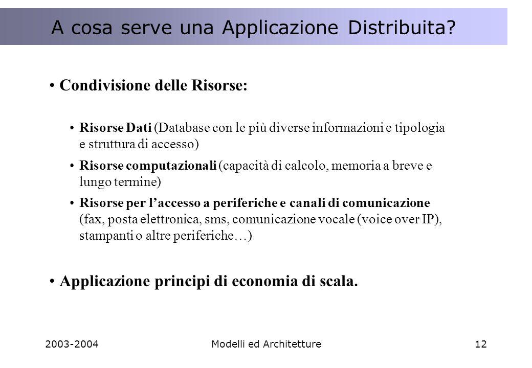 2003-2004Modelli ed Architetture12 A cosa serve una Applicazione Distribuita .
