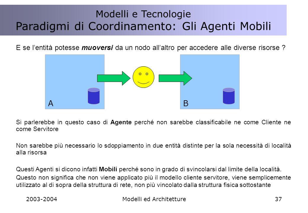 2003-2004Modelli ed Architetture37 E se lentità potesse muoversi da un nodo allaltro per accedere alle diverse risorse .