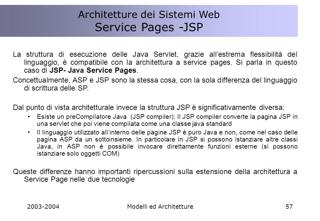 2003-2004Modelli ed Architetture57 La struttura di esecuzione delle Java Servlet, grazie allestrema flessibilità del linguaggio, è compatibile con la architettura a service pages.