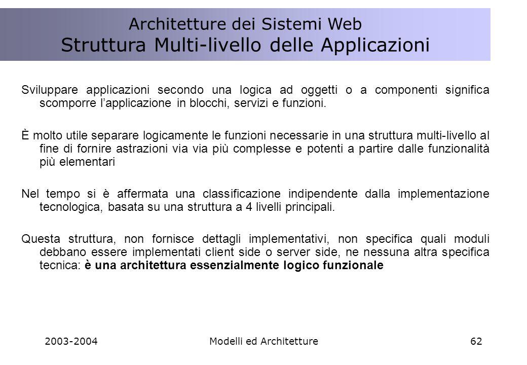 2003-2004Modelli ed Architetture62 Sviluppare applicazioni secondo una logica ad oggetti o a componenti significa scomporre lapplicazione in blocchi, servizi e funzioni.