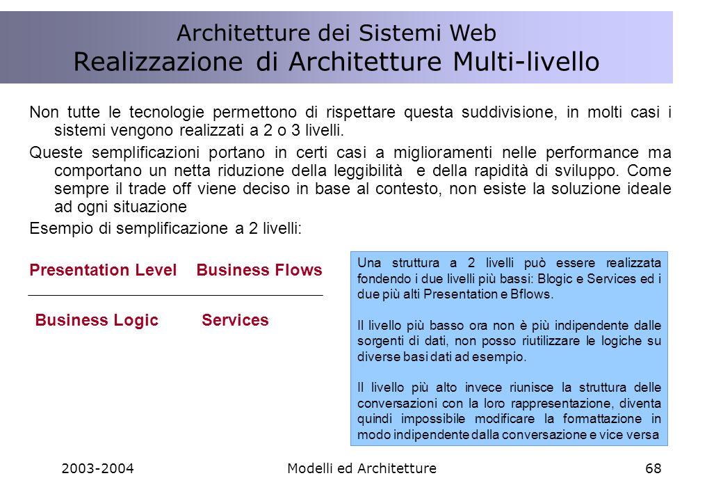 2003-2004Modelli ed Architetture68 Non tutte le tecnologie permettono di rispettare questa suddivisione, in molti casi i sistemi vengono realizzati a 2 o 3 livelli.