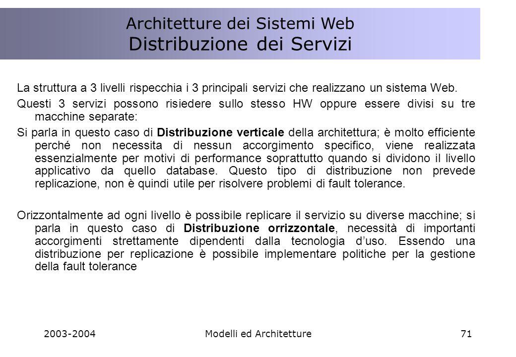 2003-2004Modelli ed Architetture71 La struttura a 3 livelli rispecchia i 3 principali servizi che realizzano un sistema Web.