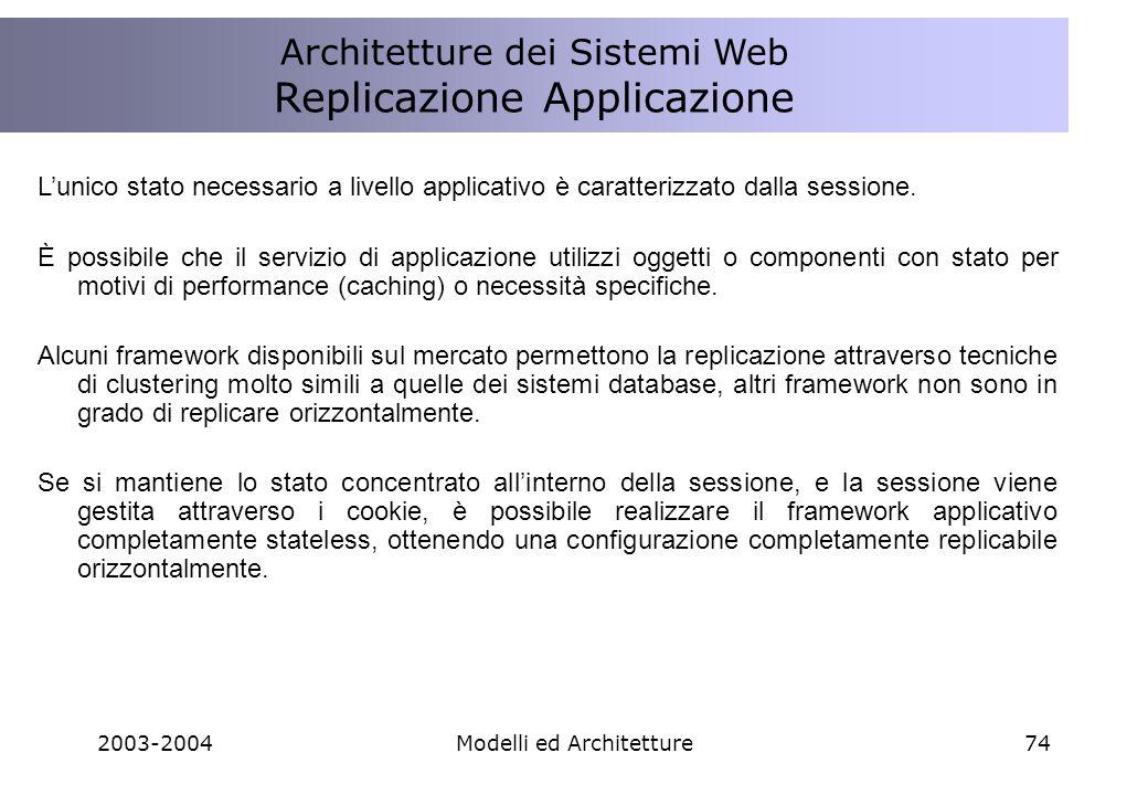 2003-2004Modelli ed Architetture74 Architettura Sistemi Web Replicazione Applicazione Lunico stato necessario a livello applicativo è caratterizzato dalla sessione.