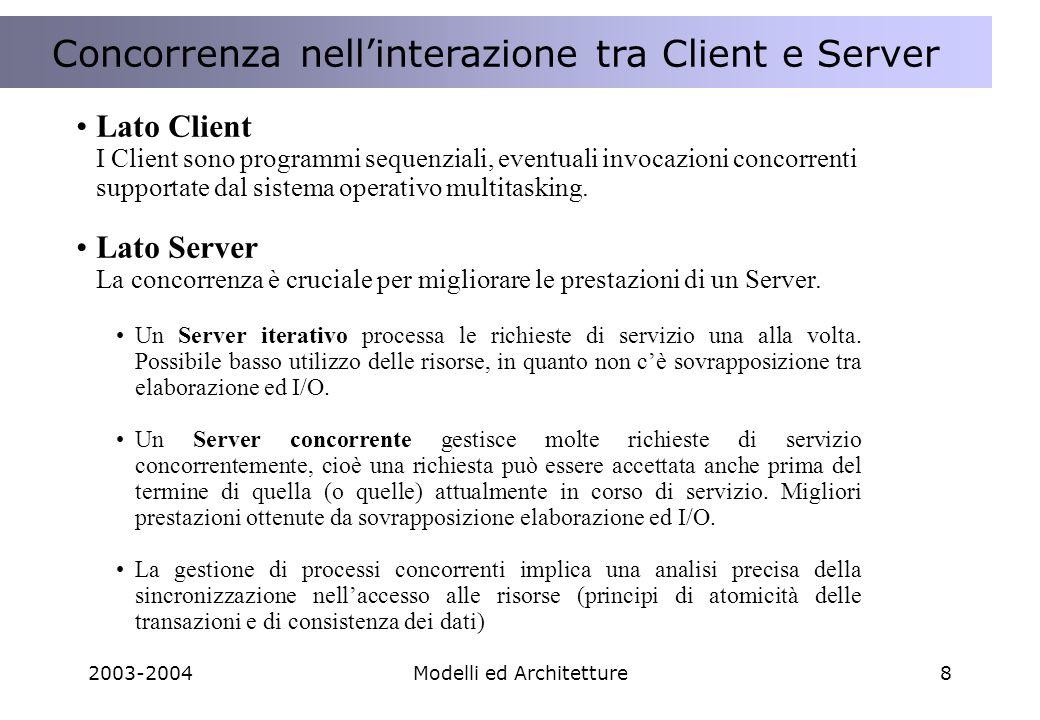 2003-2004Modelli ed Architetture29 HTTP Client HTTP Client Request= GET sum?a=2;b=3 HTTP Server HTTP Server Sum(2,3) Response 2+3=5 http://myserver/sum?a=2;b=3 Calc Server Calc Server Return (2+3=5) HTTP: Hyper Text Transfer Protocol Request/Response 2