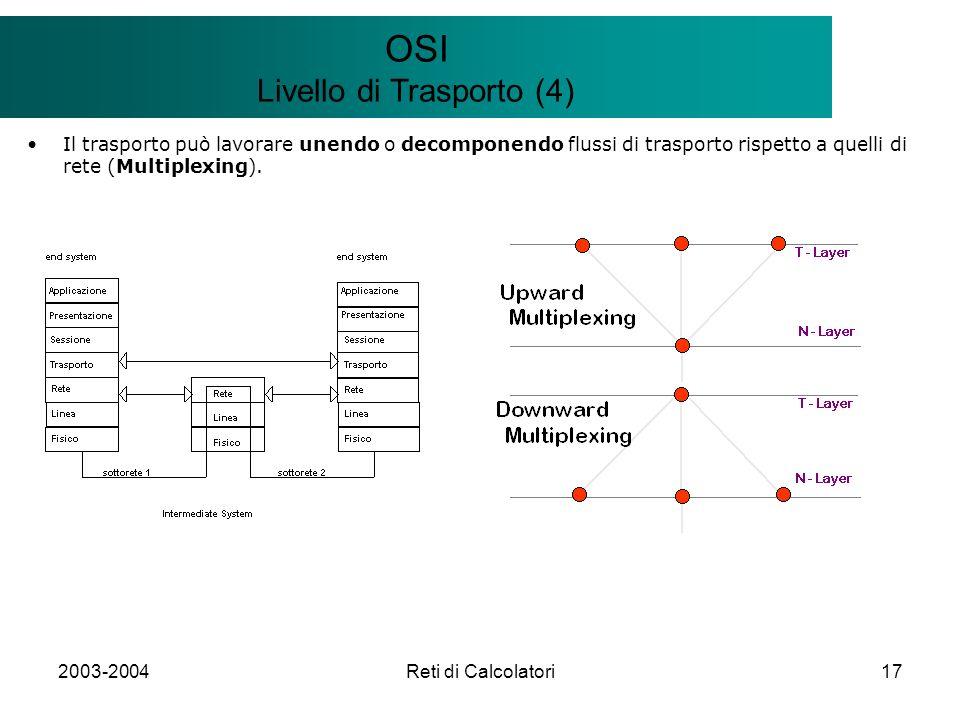 2003-2004Reti di Calcolatori17 Il modello Client/Server OSI Livello di Trasporto (4) Il trasporto può lavorare unendo o decomponendo flussi di trasporto rispetto a quelli di rete (Multiplexing).