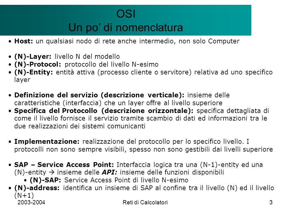 2003-2004Reti di Calcolatori3 Il modello Client/Server OSI Un po di nomenclatura Host: un qualsiasi nodo di rete anche intermedio, non solo Computer (N)-Layer: livello N del modello (N)-Protocol: protocollo del livello N-esimo (N)-Entity: entità attiva (processo cliente o servitore) relativa ad uno specifico layer Definizione del servizio (descrizione verticale): insieme delle caratteristiche (interfaccia) che un layer offre al livello superiore Specifica del Protocollo (descrizione orizzontale): specifica dettagliata di come il livello fornisce il servizio tramite scambio di dati ed informazioni tra le due realizzazioni dei sistemi comunicanti Implementazione: realizzazione del protocollo per lo specifico livello.