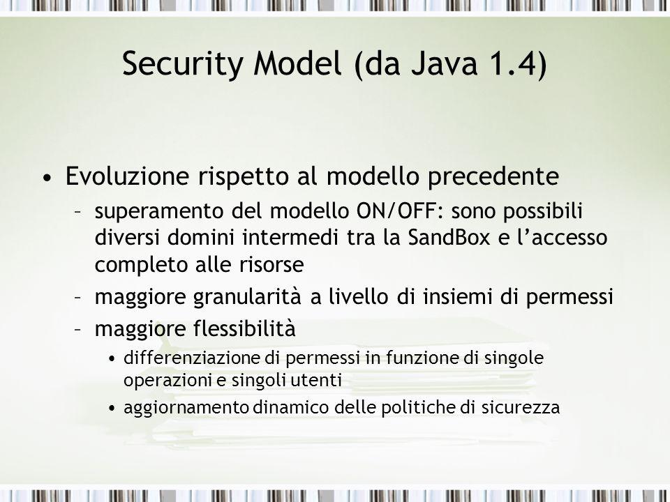 Security Model (da Java 1.4) Evoluzione rispetto al modello precedente –superamento del modello ON/OFF: sono possibili diversi domini intermedi tra la