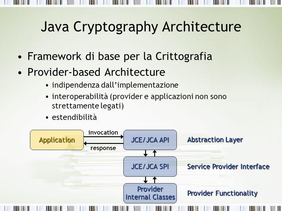 Java Cryptography Architecture Framework di base per la Crittografia Provider-based Architecture indipendenza dallimplementazione interoperabilità (pr