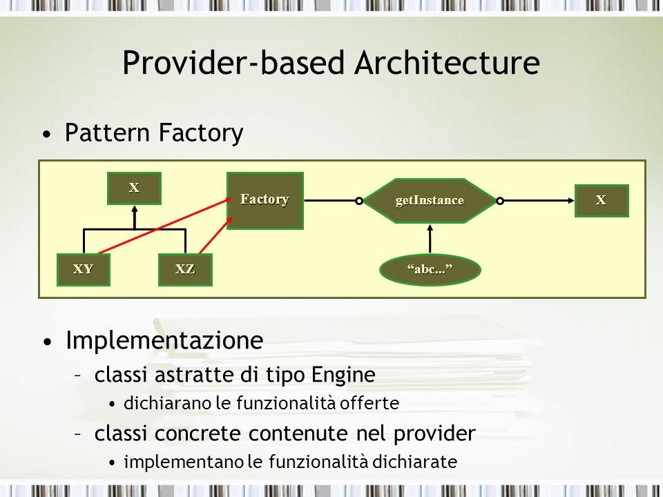 Provider-based Architecture Pattern Factory XFactory getInstance XZXY X abc... Implementazione –classi astratte di tipo Engine dichiarano le funzional