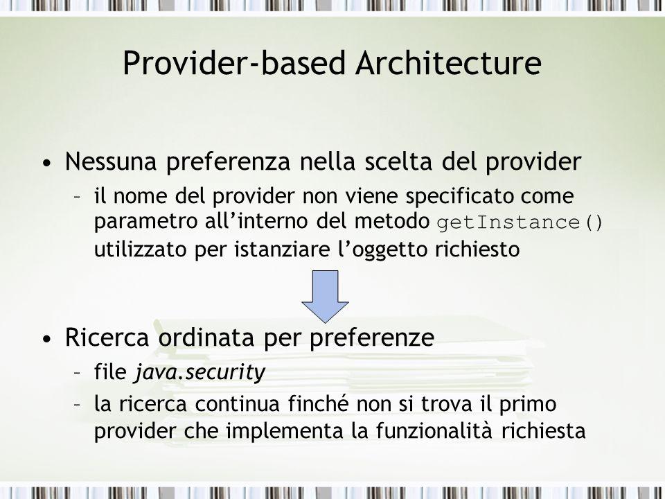 Provider-based Architecture Nessuna preferenza nella scelta del provider –il nome del provider non viene specificato come parametro allinterno del met
