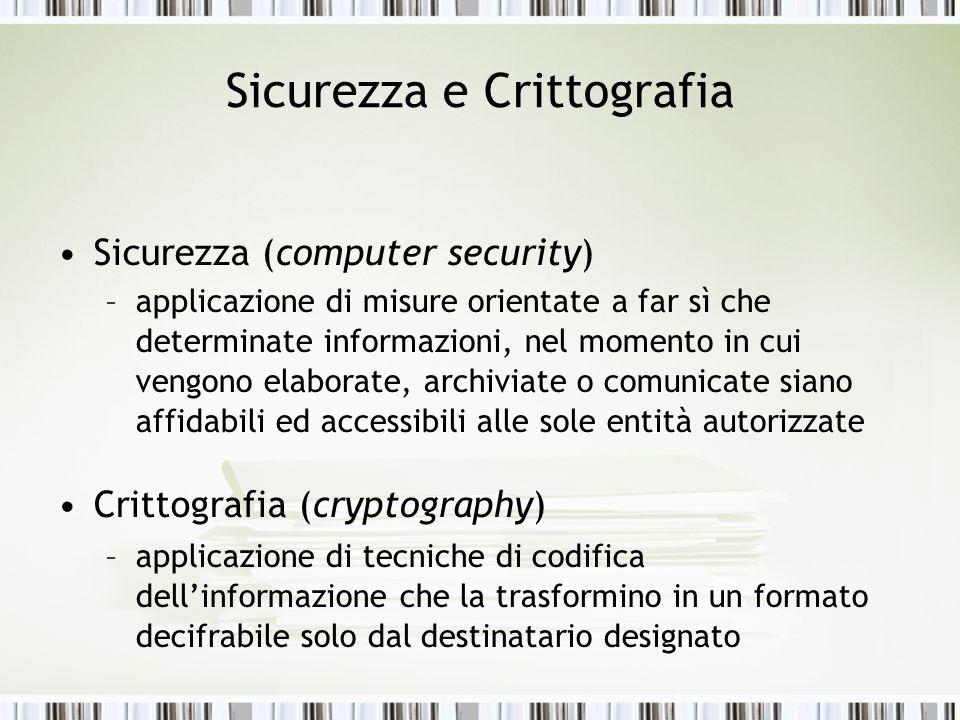 Sicurezza e Crittografia Sicurezza (computer security) –applicazione di misure orientate a far sì che determinate informazioni, nel momento in cui ven