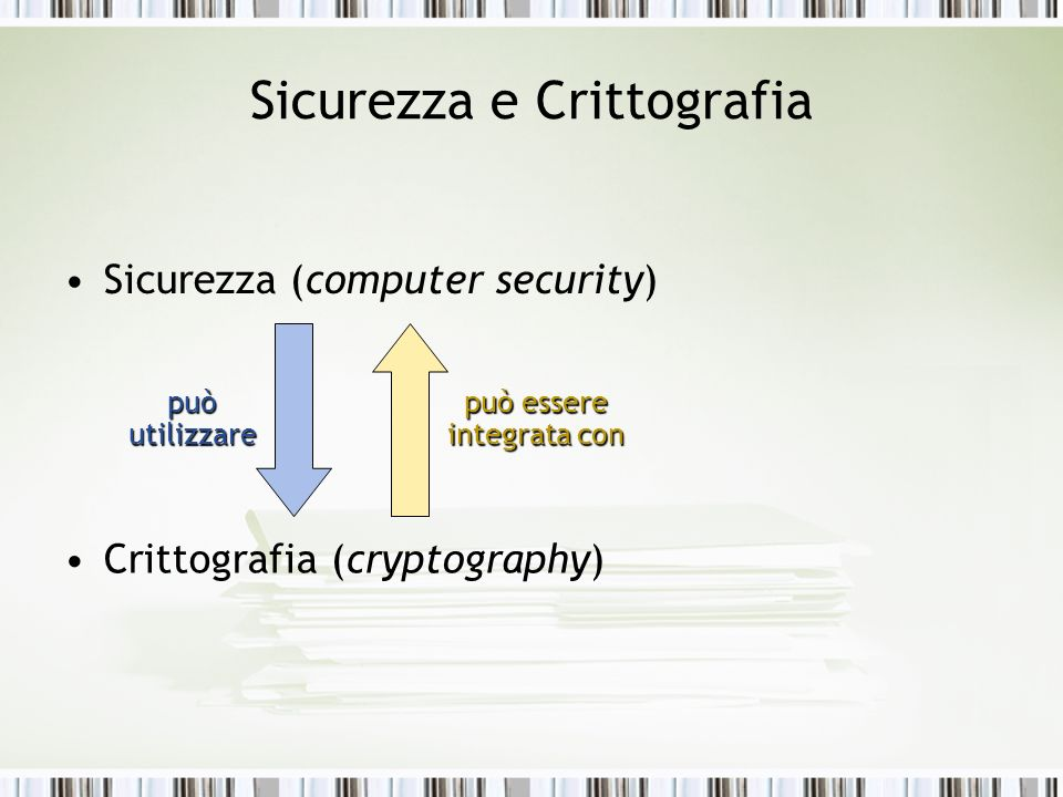 Sicurezza e Crittografia Sicurezza (computer security) Crittografia (cryptography) può utilizzare può essere integrata con