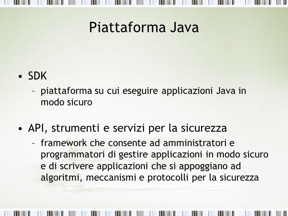Piattaforma Java SDK –piattaforma su cui eseguire applicazioni Java in modo sicuro API, strumenti e servizi per la sicurezza –framework che consente a