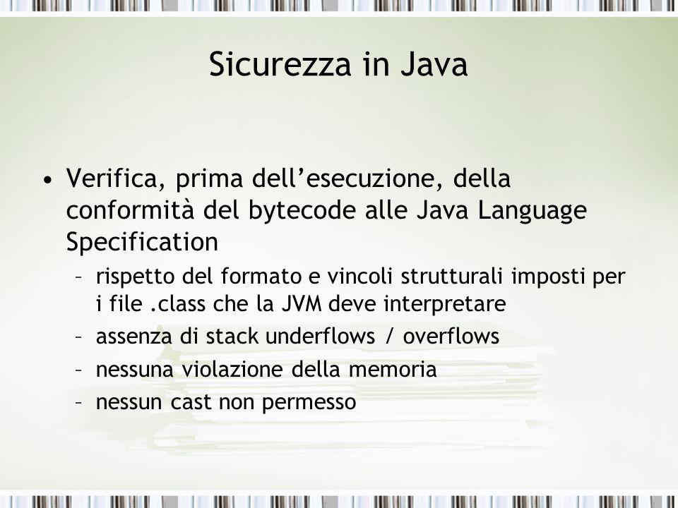 Sicurezza in Java Verifica, prima dellesecuzione, della conformità del bytecode alle Java Language Specification –rispetto del formato e vincoli strut