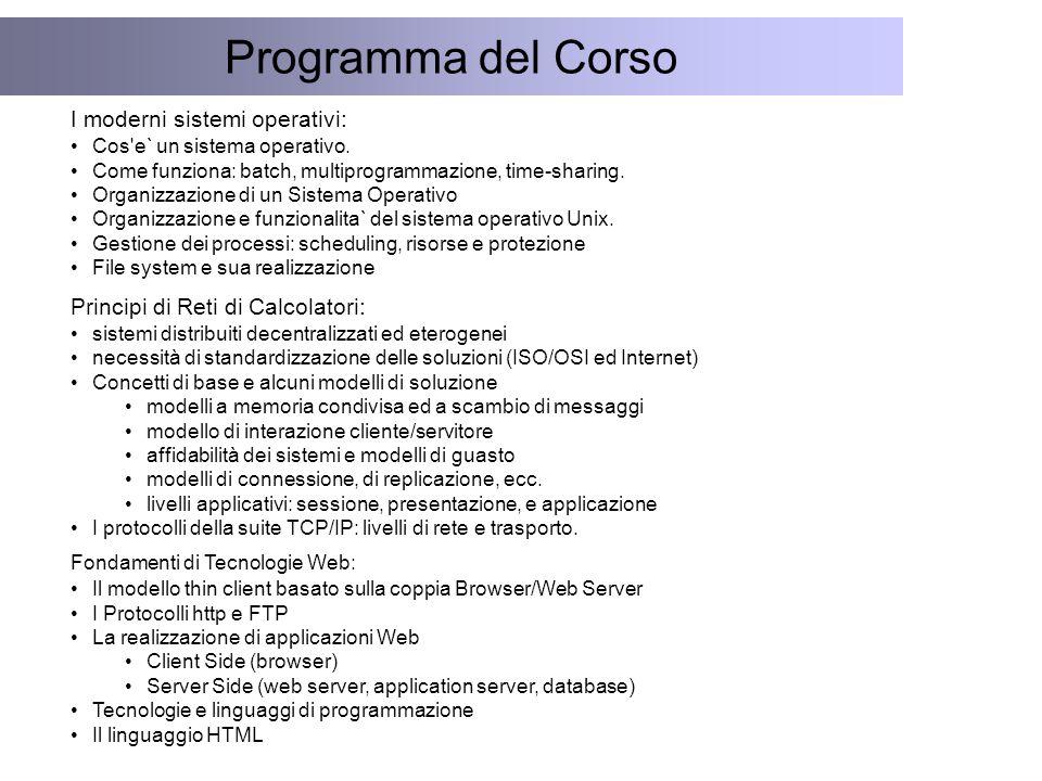 Programma del Corso I moderni sistemi operativi: Cos e` un sistema operativo.