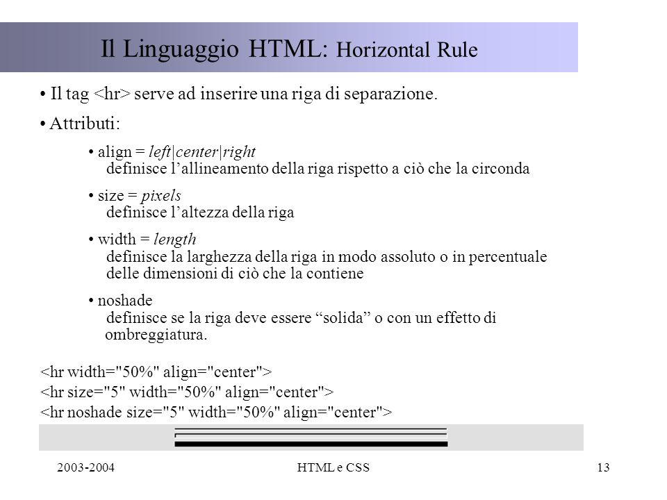 2003-2004HTML e CSS13 Il Linguaggio HTML: Horizontal Rule Il tag serve ad inserire una riga di separazione.