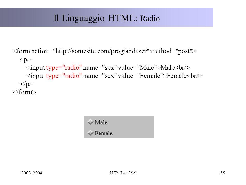 2003-2004HTML e CSS35 Il Linguaggio HTML: Radio Male Female