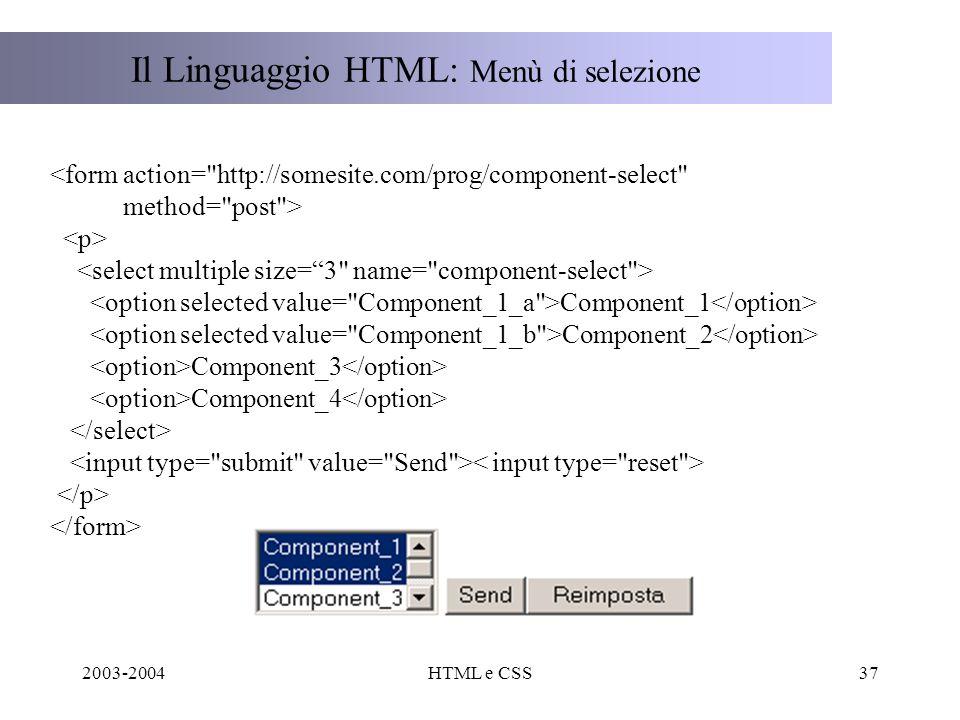 2003-2004HTML e CSS37 Il Linguaggio HTML: Menù di selezione Component_1 Component_2 Component_3 Component_4